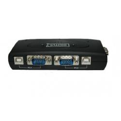 DATA SWITCH PER 2 PC USB CON 1 MOUSE, 1 TASTIERA USB O PS2, 1 VIDEO VGA CON HUB 3 PORTE USB 2.0 E 2 SET DI CAVI