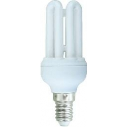 *LAMPADA A RISPARMIO ENERGETICO 9 WATT LUCE CALDA (2700K) E14 MICRO 4 TUBI