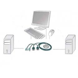 MINI DATA SWITCH PER 2 PC PS2/VGA CON 1 MOUSE, 1 TASTIERA PS2 E 1 MONITOR VGA CON CAVI INCLUSI (DC OC12)
