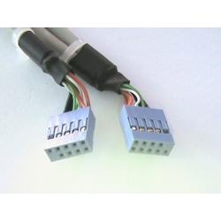 """PIASTRINA CON 4 CONNETTORI USB 2.0 TIPO """"A"""" ESTERNI - CONNETTORE ALLA PIASTRA MADRE 2X10 PIN 2,54 MM. (AK 674-2/10)"""