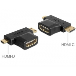 ADATTATORE HDMI A FEMMINA - HDMI C + HDMI D MASCHIO
