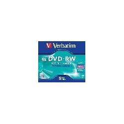 CONFEZIONE 5 DVD-RW VELOCITA' 4X CAPACITA' 4.7GB CON CUSTODIE