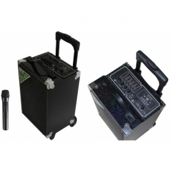 TROLLEY MULTIMEDIALE BLUETOOTH RADIO/USB/SD/MMC AUX IN X CHITARRA + MICROFONO WIFI INCLUSO