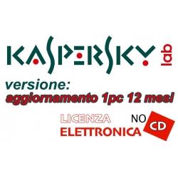 KASPERSKY ANTIVIRUS 1PC 12MESI AGGIORNAMENTO LIC ELETTRONICA