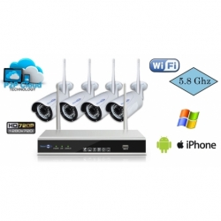 KIT IP WI-FI 5.8GHZ NVR 4CH 720P CON ROUTER WI-FI INTEGRATO E 4 IP CAM BULLET WI-FI 1MPX