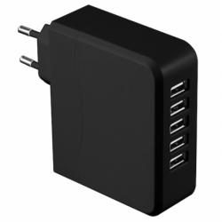 ALIMENTATORE 5 PORTE USB2.0 6.8A BLACK