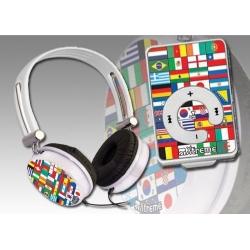 CUFFIA CON LETTORE MP3 E MICRO SD 8GB MUNDIAL KIT